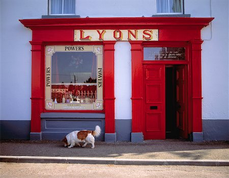 saloon - Dog in front of a shop, Ardagh, County Longford, Ireland Stock Photo - Rights-Managed, Code: 832-02252507