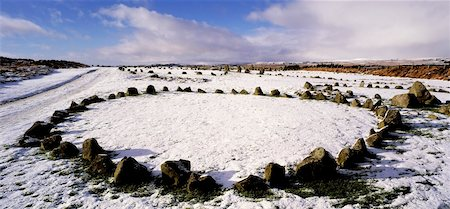 panoramic winter scene - Beaghmore Stone Circles, The Dragons Teeth, Co Tyrone, Ireland Stock Photo - Rights-Managed, Code: 832-02252805