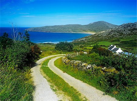 Dirt road passing through a landscape, Rosguill Peninsula, Tranarossan Bay, County Donegal, Republic Of Ireland Stock Photo - Rights-Managed, Code: 832-03358675