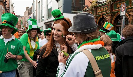 special event - Dublin, Ireland; A Woman Gets Her Face Painted For Saint Patrick's Day Stock Photo - Rights-Managed, Code: 832-03640969