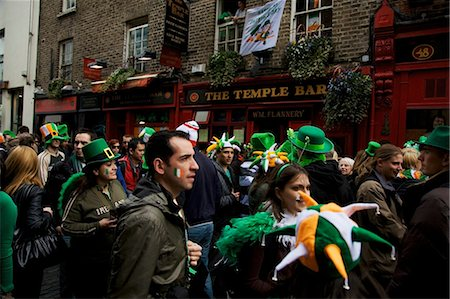 special event - Dublin, Ireland; People Gather In The Street Outside The Temple Bar In Celebration Of Saint Patrick's Day Stock Photo - Rights-Managed, Code: 832-03640976