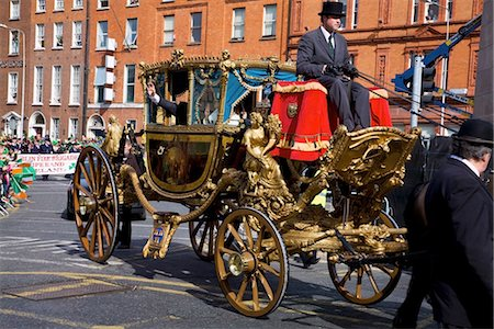 special event - Dublin, Ireland; A Horse Drawn Carriage Going Down O'connell Street Stock Photo - Rights-Managed, Code: 832-03640982