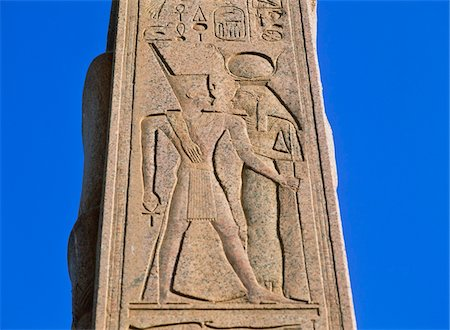 egyptian hieroglyphics - Carved pillar at Karnak, Close Up Stock Photo - Rights-Managed, Code: 832-03724670