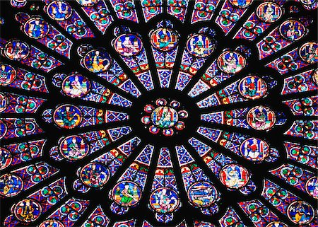 decoration pattern - Rose Window in the Notre Dame Cathedral. Stock Photo - Rights-Managed, Code: 832-03724876
