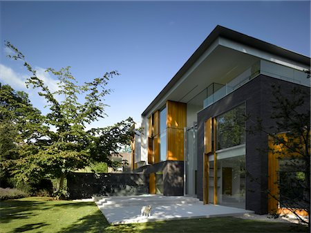 Modern building exterior, Pond and Park House, Dulwich, London. Architects: Stephen Marshall Stock Photo - Rights-Managed, Code: 845-05837712