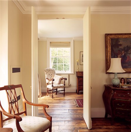 View through open door of traditional drawing room interior, UK. Architects: Metropolitan Project Shop Stock Photo - Rights-Managed, Code: 845-05837846