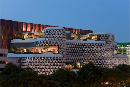 Exterior of iluma shopping and cinema complex in Singapore by WOHA Facade lighting by realities united. Architects: WOHA Stock Photo - Rights-Managed, Code: 845-05838071