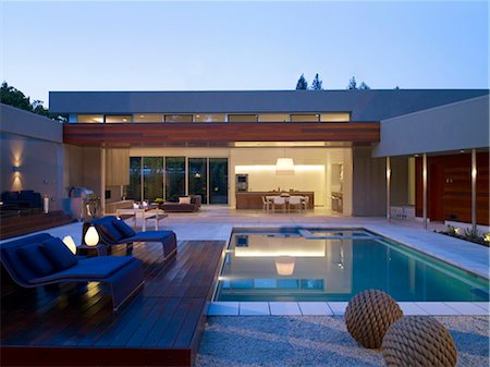 Swimming pool of detached Menlo Park Residence, California, USA. Architects: Dumican Mosey Architects Stock Photo - Rights-Managed, Code: 845-05838199