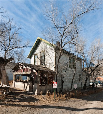 View of semi-derilict wooden house in the former ghost-town of Madrid, New Mexico. Stock Photo - Rights-Managed, Code: 845-05838347