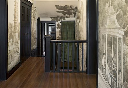 Recently restored 1930s British colonial residence in the French Concession district of Shanghai. Hallway and landing features hand-painted Chimoiserie wallpaper by British manufacturer de Gournay Stock Photo - Rights-Managed, Code: 845-05838384