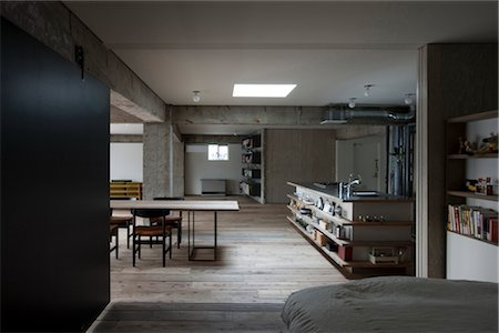 residential - Sakura flat, Private House, Openplan modern concrete home. Architects: Hitoshi Wakamatsu Architect and Associates Stock Photo - Rights-Managed, Code: 845-05839500
