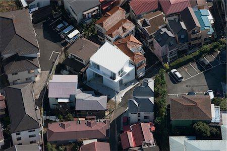 Yokohama Apartment, Apartment house, Aerial view of modernhouse and the neighbourhood. Architects: Osamu Nishida + Erika Nakagawa, ON Design Stock Photo - Rights-Managed, Code: 845-05839525