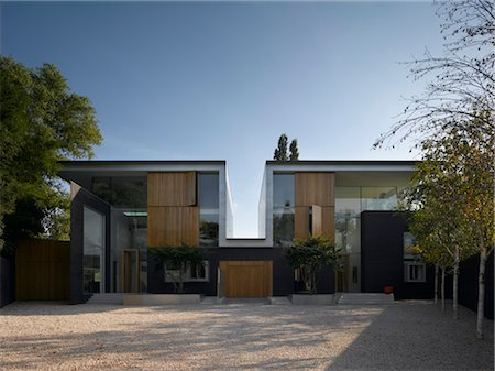 Driveway and double height exterior of Pond and Park House, Dulwich, London, UK. Architects: Stephen Marshall Stock Photo - Rights-Managed, Code: 845-06008049
