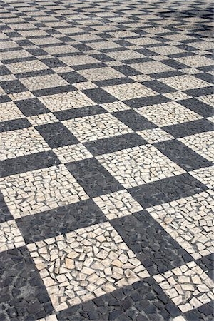 Black and white mosaic paving, Portugal. Stock Photo - Rights-Managed, Code: 845-06008100