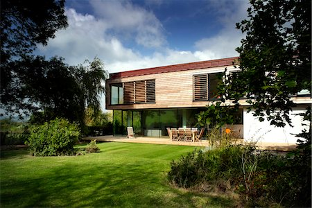 residential - Timber clad exterior of modern residential home in Ubly, Somerset, UK. Architects: Rebecca Dyer Stock Photo - Rights-Managed, Code: 845-06008140