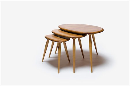 Nest of Tables (Model 354), 1960s, manufactured by Ercol. Designer: Lucien Ercolani Stock Photo - Rights-Managed, Code: 845-06008177