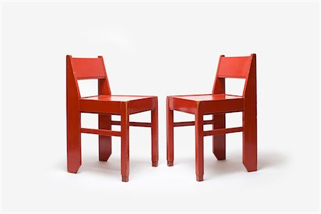 Red Painted Wooden Chairs, Dutch, 1920's. Designed at Ecole de La Haye Stock Photo - Rights-Managed, Code: 845-06008185