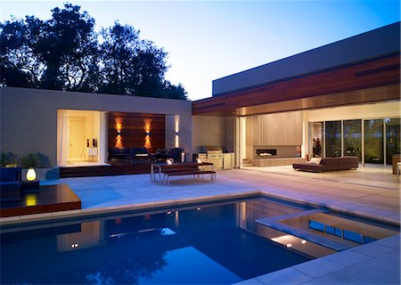 Swimming pool area with view into living room of Menlo Park Residence, USA. Stock Photo - Rights-Managed, Code: 845-07561391