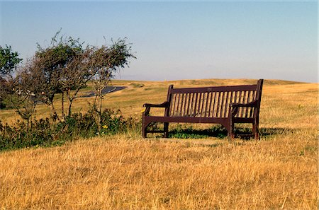 simsearch:845-03720933,k - Vista point in South Sussex, England. Empty seat in a field. Stock Photo - Rights-Managed, Code: 845-03463304
