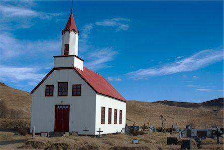 simsearch:845-03720933,k - Traditional church and cemetery, near Dyrholaey (cliff side promontory and volcanic black sand beach), Southern Iceland Stock Photo - Rights-Managed, Code: 845-03552840