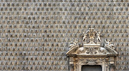 Palazzo Sanseverino, Chiesa del Gesu Nuovo, rusticated facade and broken pediment, Naples. Stock Photo - Rights-Managed, Code: 845-03720727