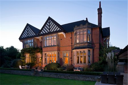 Traditional Arts and Crafts house. Exterior at dusk. Architects: Attributed to A.R.Calvert, c 1880 Stock Photo - Rights-Managed, Code: 845-03721117