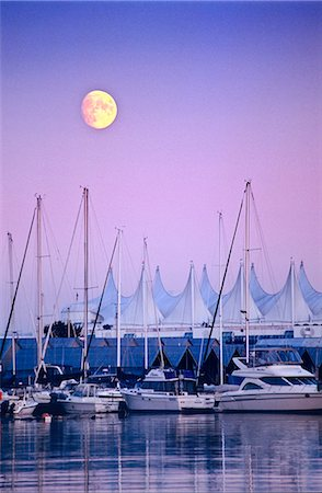 placing - British Columbia, Vancouver, full moon over Coal Harbour and Canada Place Stock Photo - Rights-Managed, Code: 845-03721280