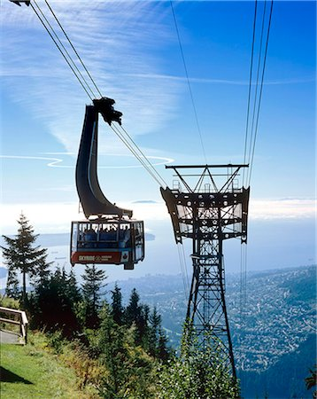 placing - British Columbia, Vancouver, Grouse Mountain Skyride cable-car Stock Photo - Rights-Managed, Code: 845-03721283