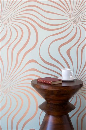 swirly - Vortex wallpaper with stool, book and cup and saucer. Stock Photo - Rights-Managed, Code: 845-03777349