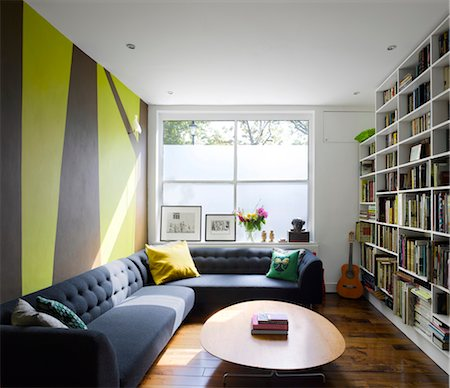 residential - Modern living room converted from a former shop front. Architects: Dominic McKenzie Stock Photo - Rights-Managed, Code: 845-03777648