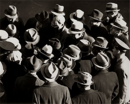 1930s - 1940s ELEVATED VIEW OF GROUP CROWD OF MEN ALL WEARING HATS Stock Photo - Rights-Managed, Code: 846-05646223