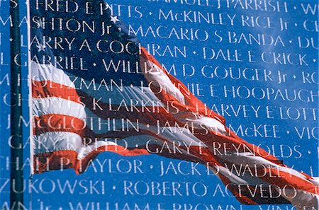 1960s - 1970s - 1980s AMERICAN FLAG REFLECTED IN WALL OF VIETNAM VETERANS MEMORIAL WASHINGTON DC USA Stock Photo - Rights-Managed, Code: 846-05646246