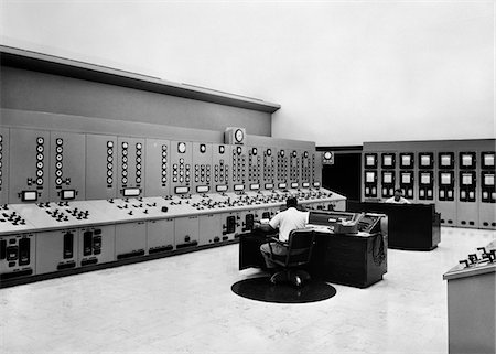1950s - 1960s CONTROL ROOM OF POWERHOUSE OF HYDROELECTRIC GENERATING DAM Stock Photo - Rights-Managed, Code: 846-05646469