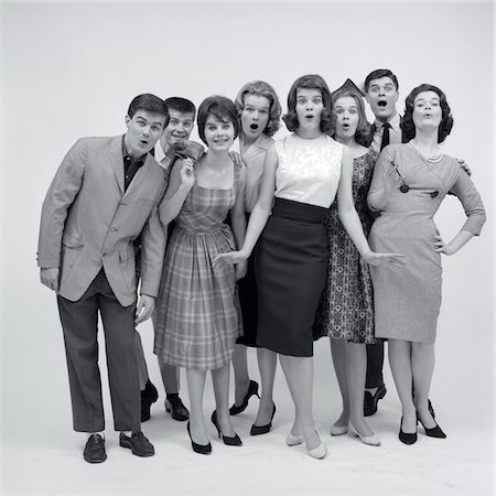 1960s GROUP OF 8 FASHIONABLE TEENS STANDING FULL LENGTH LOOKING AMAZED Stock Photo - Rights-Managed, Code: 846-05646561