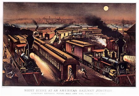1870s - 1876 NIGHT SCENE AT AN AMERICAN RAILWAY JUNCTION CURRIER & IVES PRINT Stock Photo - Rights-Managed, Code: 846-05646612