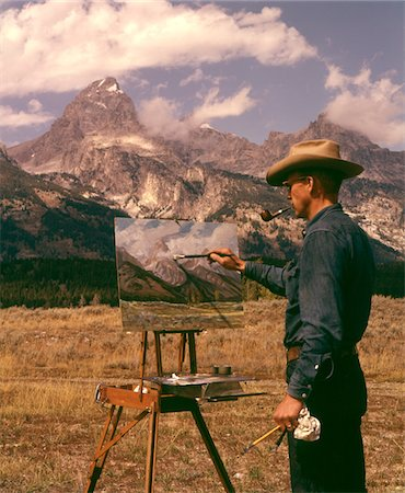 1950s - 1960s MAN ARTIST SMOKING PIPE PAINTING MOUNTAIN LANDSCAPE GRAND TETONS WYOMING Stock Photo - Rights-Managed, Code: 846-05646623