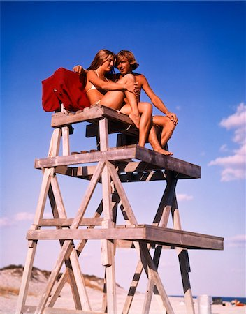 1970s TEEN COUPLE ON LIFE GUARD STAND Stock Photo - Rights-Managed, Code: 846-05646634