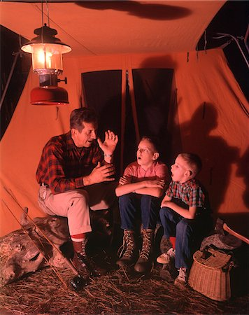 story - 1960s - 1970s  GRANDFATHER TELLING SCARY STORY TO BOYS BY TENT AT NIGHT CAMPSITE IN SHADOWS Stock Photo - Rights-Managed, Code: 846-05646765