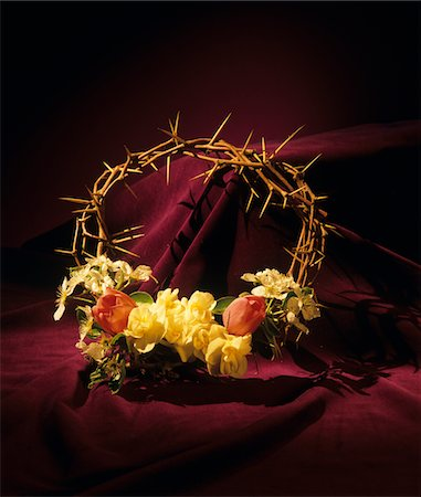 1990s CROWN OF THORNS WITH FLOWERS Stock Photo - Rights-Managed, Code: 846-05646836