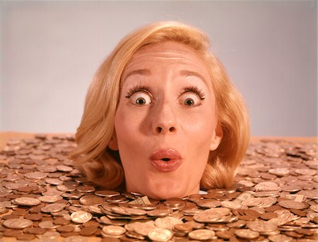 roll (people and animals rolling around) - 1960s SILLY WACKY EXPRESSION ON FUNNY WOMAN UP TO NECK IN COINS AND CURRENCY DROWNING IN LUCK Stock Photo - Rights-Managed, Code: 846-05646955