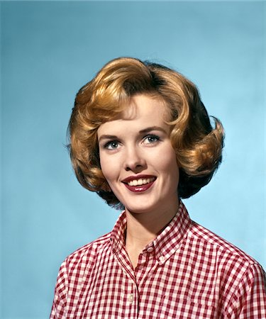 1960s PORTRAIT SMILING BLOND WOMAN WEARING A RED WHITE CHECKED BLOUSE Stock Photo - Rights-Managed, Code: 846-05646951