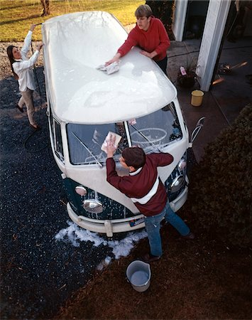 1970s TWO TEENAGE BOYS AND GIRL WASHING A VOLKSWAGEN VAN AUTOMOBILE Stock Photo - Rights-Managed, Code: 846-05647139