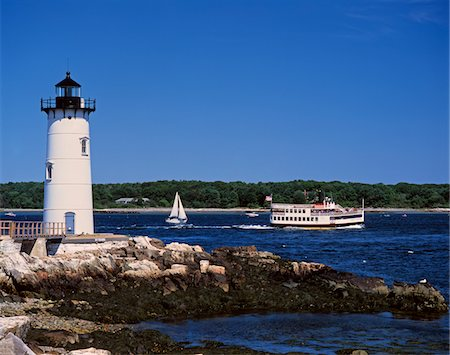 1990s LIGHTHOUSE SAIL AND FERRY BOAT NEW CASTLE MAINE Stock Photo - Rights-Managed, Code: 846-05647173