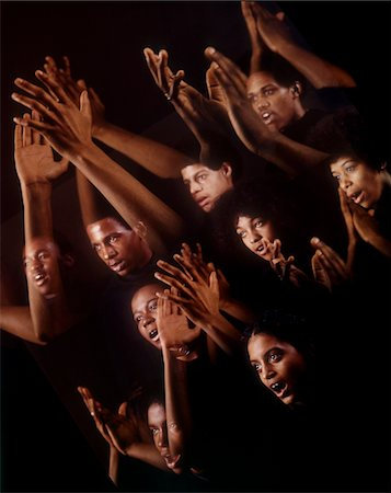 1960s - 1970s MONTAGE MULTIPLE EXPOSURE AFRICAN AMERICAN CHORUS FACES ARMS HANDS GOSPEL SINGERS SINGING Stock Photo - Rights-Managed, Code: 846-05647212
