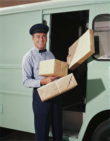 1950s - 1960s DELIVERY TRUCK DRIVER HOLDING PACKAGES Stock Photo - Rights-Managed, Code: 846-05647243