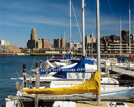 1990s SKYLINE FROM THE ERIE BASIN MARINA BUFFALO NEW YORK STATE USA Stock Photo - Rights-Managed, Code: 846-05647317