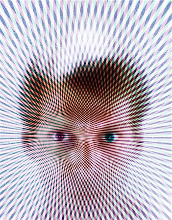 effect - 1970s SPECIAL EFFECT PSYCHEDELIC PATTERN OVER PORTRAIT BLONDE MAN FAN OUT FROM EYES STARE WEIRD 3 DIMENSIONAL HOLOGRAM Stock Photo - Rights-Managed, Code: 846-05647517