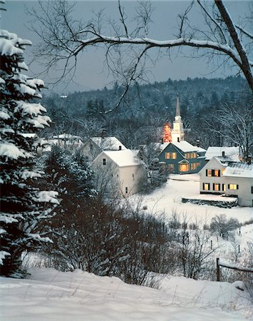small town snow - 1980s WINTER SNOW COVERED HOUSES AND CHURCH WHITEFIELD NEW HAMPSHIRE USA Stock Photo - Rights-Managed, Code: 846-05647584