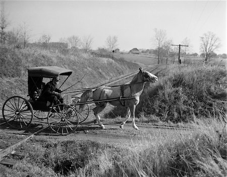 1890s - 1900s RURAL COUNTRY DOCTOR DRIVING HORSE & CARRIAGE ACROSS RAILROAD TRACKS Stock Photo - Rights-Managed, Code: 846-05647661