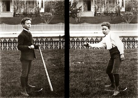 1890s - 1900s TWO IMAGES OF BOY IN KNICKERS HOLDING BASEBALL BAT AND PITCHING BALL Stock Photo - Rights-Managed, Code: 846-05647769